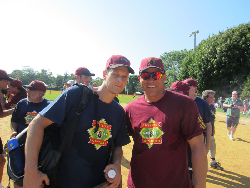 Josh Charles, Jim Leyritz - Artists vs Writers Celebrity Softball Game